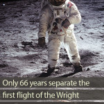 How long after the first airplane did man step on the moon?